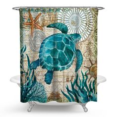Watercolor Turtle and Gem Blue animal Fabric Shower Curtain set Bathroom 71inch