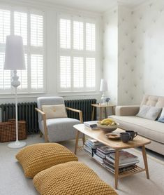 Tapeten Muster originell kreativ Wohnzimmer Wohnideen Sofa