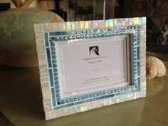Shimmer Wedgewood Blue Mosaic Art Picture Frame 5x7. Made to Order available at my HamptonMosaics@Etsy Shop... 135.00