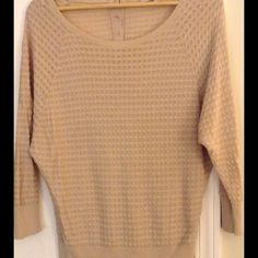 "LOFT☀️Summer Beige Dolman Sleeve SweaterSP Beautiful dolman sleeve gold button back Loft sweater in a small petite, measures 25"" overall, and is 52 rayon, 48 cotton. Good preowned condition, with minimal overall wear. Gorgeous must have for this summer! LOFT Sweaters"