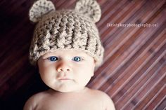 Animal Baby Hat  Light Brown $18.00 Teddy Bear Baby Hat  by bummybaby