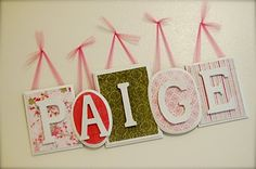 Love this!  I could use the same paper/fabric I'm using in her quilt!  Name Plaque - Wall Decor