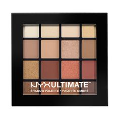 NYX Professional Makeup Ultimate Eyeshadow Palette in Smokey and Highlight offers professional-level eyeshadow in velvety textures. This NYX Professional Makeup eyeshadow palette includes a range of finishes: matte, satin, shimmer and metallic. Drugstore Eyeshadow Palette, Neutral Eyeshadow Palette, Eye Palette, Skin Makeup, Makeup Eyeshadow, Beauty Makeup, Eyeshadow Base, Makeup Tips, Drugstore Beauty