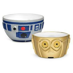 """Artoo and Threepio are at your beck and call with this R2-D2 & C-3PO Ceramic Bowl Set. With a 6 1/2"""" top diameter, R2's a little bigger than his golden buddy. Both hold over 3 cups of... whatever. Check out more geek stuff at www.geekgenesis.com, a place for geek"""