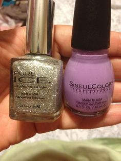 Pure ICE Beware and Sinful Colors Tempest. Gonna try out a funky French manicure with this color combo.