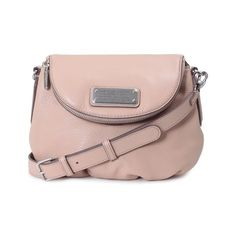 MARC BY MARC JACOBS New Q Mini Natasha leather bag (7 435 UAH) ❤ liked on Polyvore featuring bags, handbags, shoulder bags, nude, leather shoulder bag, pink leather purse, pink leather handbag, leather flap handbag and mini purse
