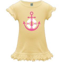 Cute pink anchor and life preserver nautical design on a A-Line Baby Dresses you can personalize. $19.99 www.virtuosodesigner.com  #anchor #nautical #babygirl