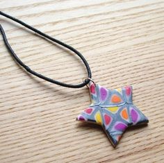 Silver Windows Star FIMO Polymer Clay Pendant £5.00