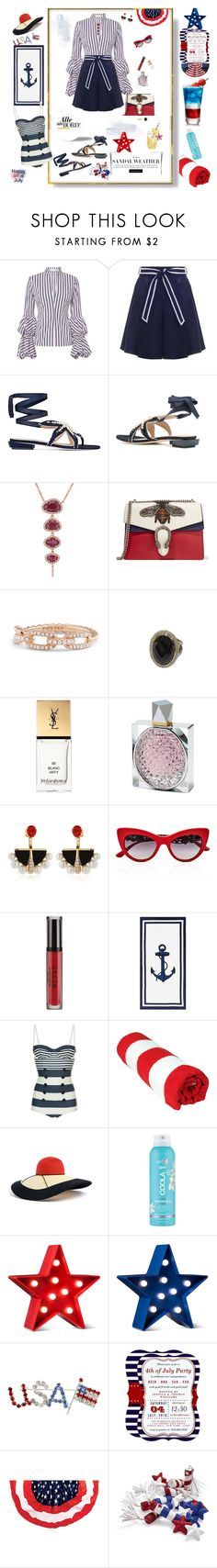 """Forth of July"" by deborah-518 ❤ liked on Polyvore featuring Caroline Constas, Zimmermann, Tory Burch, Anne Sisteron, Gucci, David Yurman, Yves Saint Laurent, STELLA McCARTNEY, Lalique and Dolce&Gabbana"