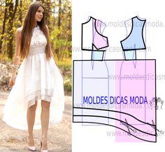 Observe com atenção a transformação do molde de vestido branco assimetrico para poder fazer a leitura de forma correta. Desta forma simplifica o seu...