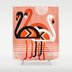 Buy Shower Curtains featuring Posse - flamingo throwback nostalgia retro neon art print hipster trendy style minimal abstract geo by Wacka. Made from 100% easy care polyester our designer shower curtains are printed in the USA and feature a 12 button-hole top for simple hanging.