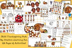 Massive Thanksgiving Pack - syllable counts, spelling, writing, addition, subtraction, lacing, sequencing, etc! THIS IS AWESOME and FREEEEEE