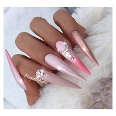 Nude And Pink Ombré Stiletto Nails  by MargaritasNailz spring nail art pearl design fashion rose gold nail ideas