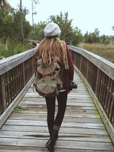 Black Combat Boots, Brown Boot Socks, Black Leggings, Over-Sized Red Sweater, Grey Beanie... Artsy Adventurer