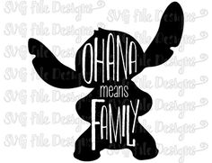 Ohana Means Family Lilo and Stitch Word Art Silhouette Design Cutting File / Clipart in Svg, Eps, Dxf, Png, and Jpeg for Cricut & Silhouette