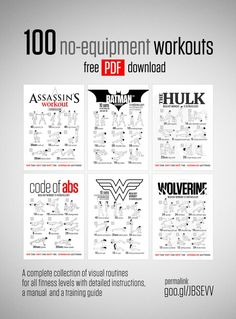 Free 100 No-Equipment Workouts A complete collection of visual routines for all fitness levels with detailed instructions, a manual  and a training guide.  download http://neilarey.com/100-no-equipment-workouts.html