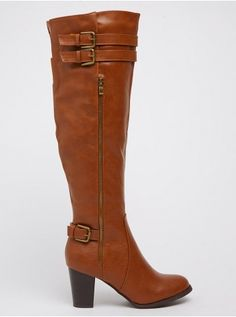 Knee-length Boots with Buckle Detail Tan