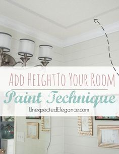 Home Remodeling Ceilings Easily Add Interest to Your Ceiling and Height to a Room with this EASY Paint Technique - Add Height To Your Room with PAINT! Find out HOW! Home Renovation, Home Remodeling, Painting Fabric Furniture, Collor, Room Paint, Home Projects, Design Projects, Decorating Tips, Planer