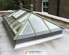 When fitted on orangery roofs the roof lantern tend to take up most of the roof leaving a small border around the edges for the supporting steels. Description from cheapest-double-glazing.com. I searched for this on bing.com/images
