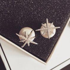 Prezzi e Sconti: #Rhinestoned star faux pearl earrings  ad Euro 2.82 in #Jewelry #Moda