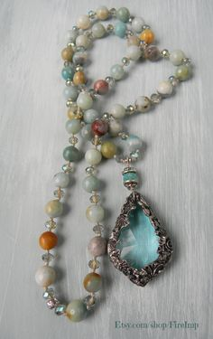 Misty Seas Victorian crystal necklace. Amazonite Boho Glam neutrals.