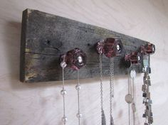 Upcycled Salvaged Wood Jewelry Holder Necklace Organizer with Purple Knobs