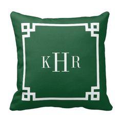 Hunter Green Greek Key Border Custom Monogram Throw Pillows