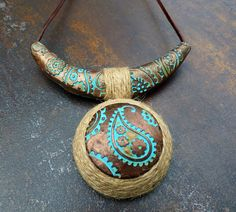 Rustic polymer clay pendant limited edition