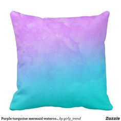 Purple turquoise mermaid watercolor ombre paint throw pillow