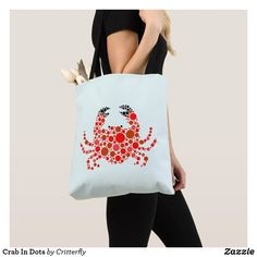 Our Crab tote bags are great for carrying around your school & office work or other shopping purchases. Reusable Tote Bags, Dots, Stitches