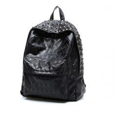 Black Pure Color Skull Printed Stud Decor Schoolbag