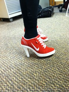 """One of the craziest pairs of red shoes I own. Nicknamed the """"unicorns."""""""