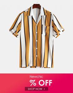 YUNY Men Slim Fit Turn-Down Collar Button Print Blouses and Tops Shirts Black XL