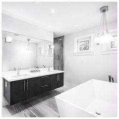#sepidstudio #ensuite #bathdesign #interiordesign #westvancouver #yvr #freestandingtub #robertocavallitiles #luxuryhomes #newhouse #floatingvanity #lighting by sepidstudio