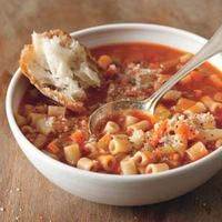 Tomato Pasta Stoup  1 cup each minced celery, carrot & onion * 2 tbsp. EVOO * 4 cups vegetable broth * 15-oz can tomato puree * 2 cups ditalini * salt & pepper * 1/2 cup grated parmesan cheese