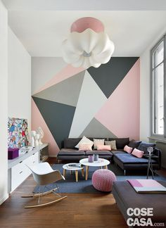 An Italian mini loft within the coronary heart of city - PLANETE DECO a houses world. Bedroom Wall Designs, Home Decor Bedroom, Living Room Designs, Living Room Decor, Bedroom Ideas, Master Bedroom, Cosy Bedroom, Living Rooms, Room Wall Painting