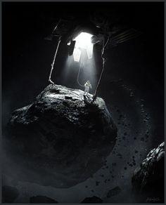 Asteroid Mining , alex nice on ArtStation at https://www.artstation.com/artwork/asteroid-mining