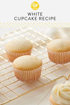 Classic white cupcakes are a decorators dream. Made with cake flour sugar egg whites and butter they have a sweet mild flavor that pairs perfectly with your favorite frosting. The batter also takes color beautifully to make a rainbow of cupcakes. Basic Cupcake Recipe, White Cupcake Recipes, White Cupcakes, Chocolate Crepes, Chocolate Chunk Cookies, Easy Desserts, Dessert Recipes, Baking Recipes, Cream Bread Recipe