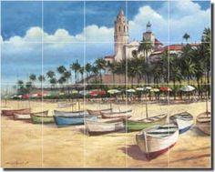 Boats on the Shore by T. C. Chiu - Mediterranean tile mural backsplash by ArtworkOnTile.com