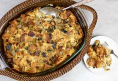 Savory 4-Onion Bread Pudding with Roasted Garlic & Celery #Thanksgiving #stuffing #vegetarian