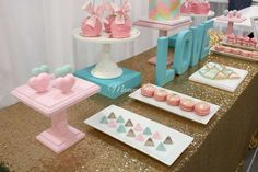 Geometric birthday party treats! See more party planning ideas at CatchMyParty.com!
