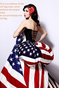 Shame on The House of Hannigan, Ltd. Violations: a bustle made from a US flag, and a flag held inappropriately.