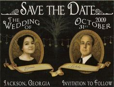 Very cool nostalgic Save the Date. I can almost hear the wagons rolling up to the church!