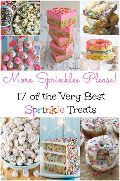 17 of the Very Best Sprinkle Treats Easy dessert ideas. 17 of the very best sprinkle treats. So fun for birthday parties, baby showers, and spring events! Mini Desserts, Easy Desserts, Dessert Recipes, Dinner Recipes, Baby Girl Sprinkle, Sprinkle Party, Baby Sprinkle Shower, Baby Sprinkle Favors, Donut Birthday Parties