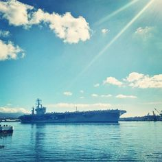 Fair winds and following seas. The USS Nimitz going back out to sea