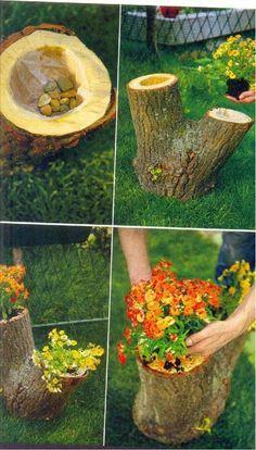 Tree-stump as a flower-pot