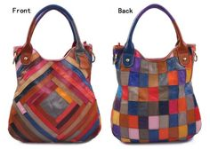 Handmade Genuine Leather Women's Handbag Messenger Bag in Splicing Leather