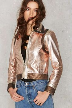 Nasty Gal You Should be Dancing Metallic Leather Jacket - Designed By Us