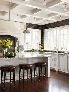 Dark subway tile and coffered ceiling in white kitchen -Brought to you by LG Studio