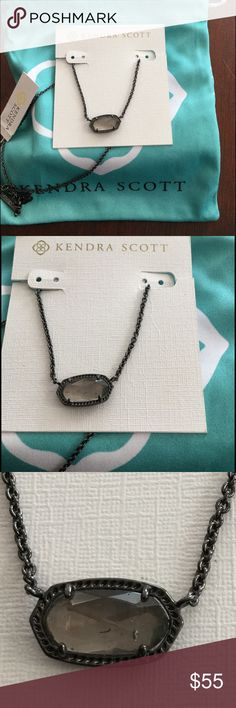 """Kendra Scott ELISA Pendent Kendra Scott Elisa pendant in gunmetal, mirror rock crystal. NEW WITH TAG Gunmetal Plated Over Brass • Size: 0.63""""L x 0.38""""W stationary pendant, 15"""" chain with 2"""" extender • Material: mirror rock crystal* Kendra Scott Jewelry Necklaces"""